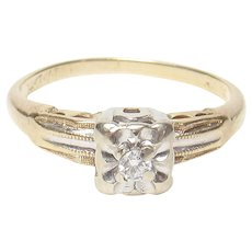 14K Yellow And White Gold 0.06 Ct Brilliant Cut Diamond Ring 1940's Vintage