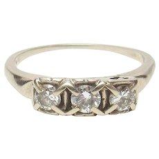 14K White Gold Three Brilliant Cut Diamond Ring 0.40 Cts 1940's Vintage