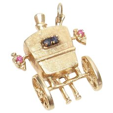 14K Yellow Gold Natural Sapphire And Ruby Carriage Back Charm Or Pendant 1940's Vintage
