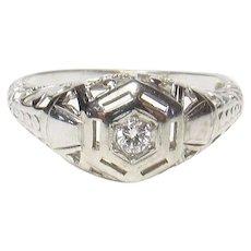 10K White Gold 0.04 Ct European Cut Diamond Filigree Ring 1930's Vintage