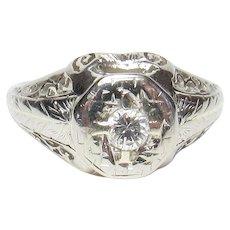 18K White Gold 0.16 Ct Brilliant Cut Diamond Filigree Ring 1940's Vintage