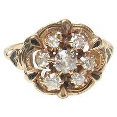 14K Yellow Gold Mine And European Cut Diamond Ring 0.50 Cts 1900's Edwardian