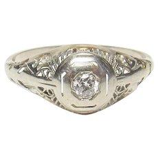 14K White Gold 0.12 Ct European Cut Diamond Filigree Ring 1930's Vintage