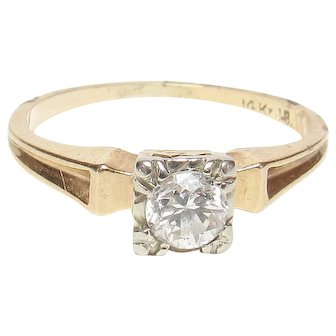 14K Yellow And White Gold 0.23 Ct Brilliant Cut Diamond Solitaire Ring 1940's Vintage