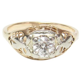 14K Yellow And White Gold 0.40 Ct European Cut Diamond Filigree Ring 1930's Vintage