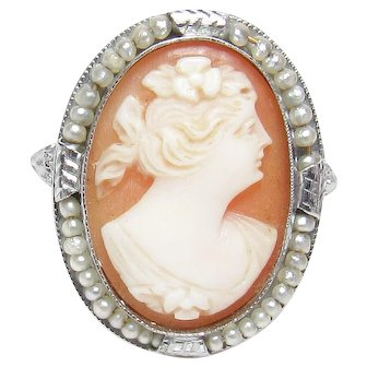 14K White Gold Hand Carved Woman Shell Cameo Pearl Filigree Ring 1930's Vintage