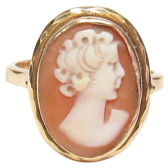 18K Yellow Gold Hand Carved Lady Sell Cameo Ring 1940's Vintage