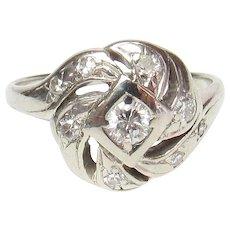 14K White Gold 0.16 Ct Brilliant Cut Diamond Ring 0.30 Cts TW 1940's Vintage
