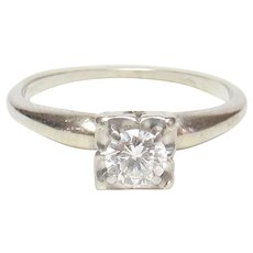 14K White Gold 0.30 Ct Brilliant Cut Diamond Solitaire Ring 1940's Vintage