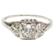 18K White Gold 0.33 Ct European Cut Diamond Filigree Ring 0.45 Cts TW 1930's Vintage
