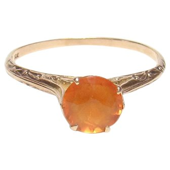10K Yellow Gold 1.00 Ct Natural Orange Citrine Solitaire Ring 1930's Vintage