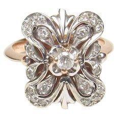 14K White And Rose Gold 0.08 Ct Brilliant Cut Diamond Ring 0.30 Cts TW 1940's Vintage