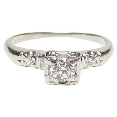 14K White Gold 0.20 Ct European Cut Diamond Ring 0.22 Cts TW 1930's Vintage