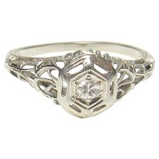 18K White Gold 0.06 Ct European Cut Diamond Filigree Ring 1930's Vintage