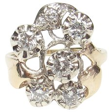 14K Yellow And White Gold Eight Brilliant Cut Diamond Ring 0.75 Cts 1940's Vintage