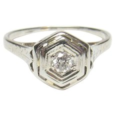 18K White Gold 0.12 Ct European Cut Diamond Filigree Ring 1930's Vintage