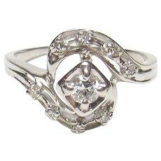 14K White Gold 0.16 Ct European Cut Diamond Ring 0.24 Cts TW 1930's Vintage
