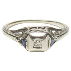 18K White Gold 0.02 Ct Single Cut Diamond Filigree Ring 1930's Vintage
