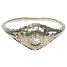 14K White Gold 0.08 Ct European Cut Diamond Solitaire Filigree Ring 1930's Vintage