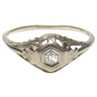 14K White Gold 0.08 Ct European Cut Diamond Solitaire Filigree Ring 1930's Vintage