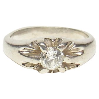 14K White Gold 0.30 Ct Mine Cut Diamond Solitaire Ring 1920's Vintage