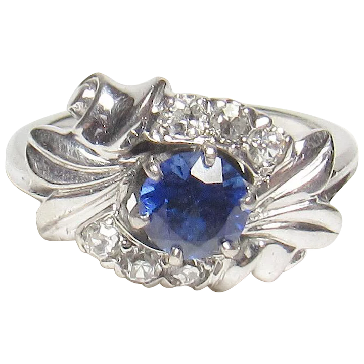 d49a3378ebcabb 18K White Gold 0.65 Ct Synthetic Blue Sapphire And Diamond Ring 1930's :  Prestige Gems | Ruby Lane