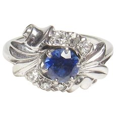 18K White Gold 0.65 Ct Synthetic Blue Sapphire And Diamond Ring 1930's Vintage