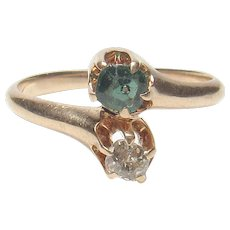 14K Yellow Gold 0.16 Ct Mine Cut Diamond And Green Stone Ring 1890's Victorian