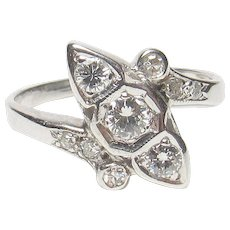 14K White Gold 0.10 Ct Brilliant Cut Diamond Ring 0.30 Cts Total 1940's Vintage