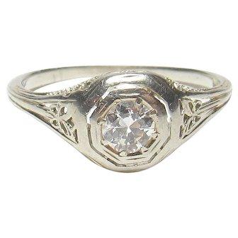 18K White Gold 0.20 Ct European Cut Diamond Filigree Ring 1930's Vintage