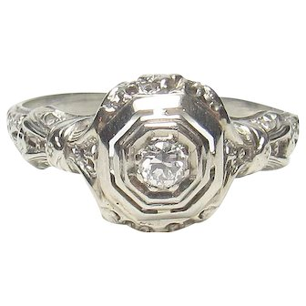 18K White Gold 0.06 Ct European Cut Diamond Filigree Ring 1930's Vintage