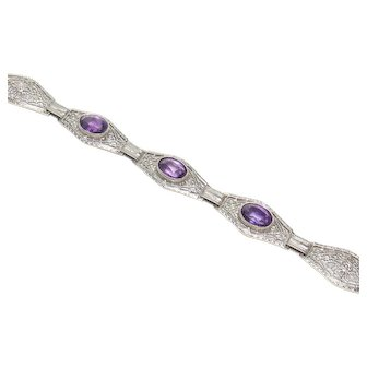 14K White Gold Natural Purple Amethyst Filigree Bracelet 2.20 Cts 1930's Vintage