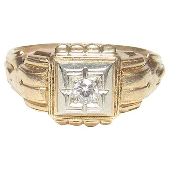 Men's 14K Yellow And White Gold 0.08 Ct Brilliant Cut Diamond Ring 1940's Vintage