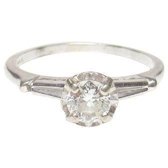 14K White Gold 0.40 Ct European Cut Diamond Solitaire Ring 1930's Vintage