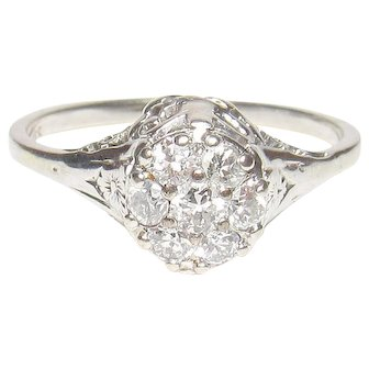 14K White Gold Seven European Cut Diamond Filigree Ring 0.30 Cts 1930's Vintage