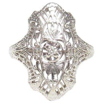 14K White Gold 0.02 Ct Single Cut Diamond Filigree Ring 1930's Vintage