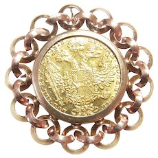 14K Yellow, Rose Gold 22K Austria One Ducat 1915 Coin Brooch Pendant 1960's Vintage