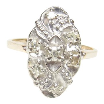 14K Yellow And White Gold Seven Single Cut Diamond Ring 0.20 Cts 1940's Vintage