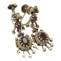 14K Yellow Gold Natural Red Garnet Dangle Screw Back Earrings 1.60 Cts 1940's Vintage