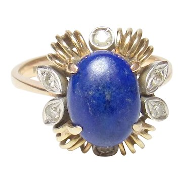 14K Yellow Gold 2.00 Ct Natural Oval Blue Lapis And Diamond Ring 1940's Vintage