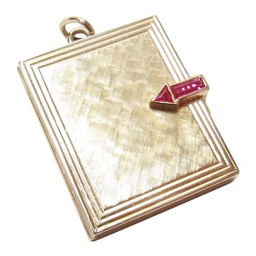 14K Yellow Gold Synthetic Red Ruby Three Spot Locket Pendant 1960's Vintage