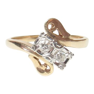 14K Yellow And White Gold Two European Cut Diamond Ring 0.20 Cts 1930's Vintage