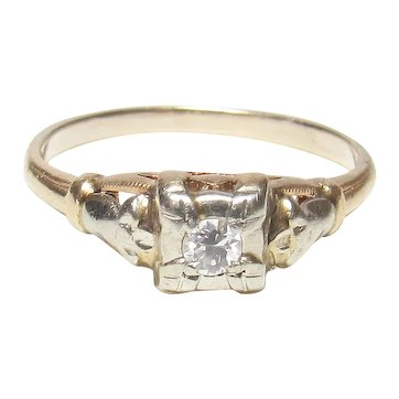 14K Yellow And White Gold 0.06 Ct European Cut Diamond Solitaire Ring 1930's Vintage