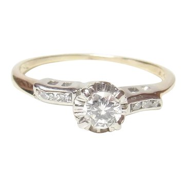 14K Yellow And White Gold 0.22 Ct Brilliant Cut Diamond Ring 0.30 Ct Total 1940's Vintage