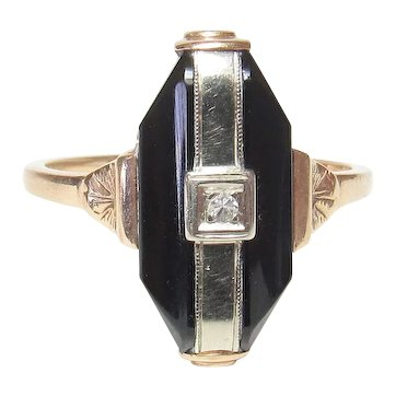 10K Yellow And White Gold 0.02 Ct Single Cut Diamond And Onyx Ring 1930's Art Deco
