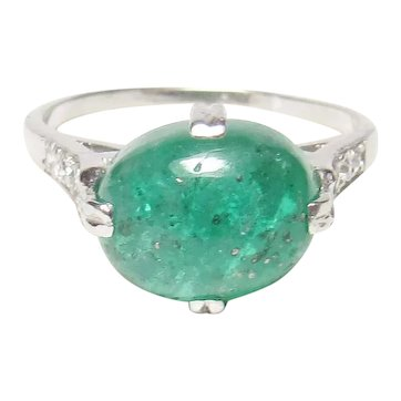 Platinum 3.89 Ct Natural Oval Parakeet Green Emerald Diamond Ring 1930's Vintage