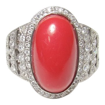 Platinum 9.45 Ct Natural Oval Blood Red Coral And Diamond Ring 1930's Art Deco
