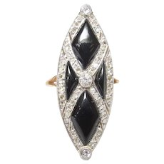 18K Yellow Gold Platinum Rose And European Cut Diamond Ring 0.70 Cts 1920's Art Deco
