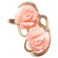 14K Yellow Gold Hand Carved Pink Coral Rose Cameo Ring 1930's Vintage