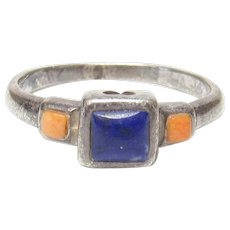 Sterling Silver 0.50 Ct Natural Blue Lapis And Spiny Oyster Ring 1940's Vintage